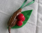 Holiday Christmas Ornament, Nature-Inspired with Red Felt Berries and Leaf