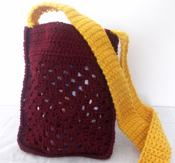 Maroon Crocheted Hip Bag with Yellow Strap