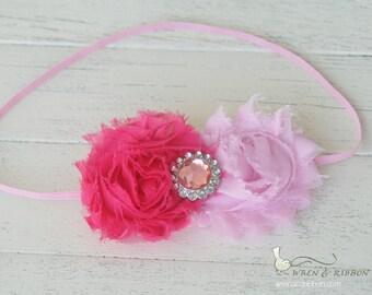 Pink Rosette Headband - Chiffon & Rhinestone - Girls Newborn Infant Baby Toddler Child Adult