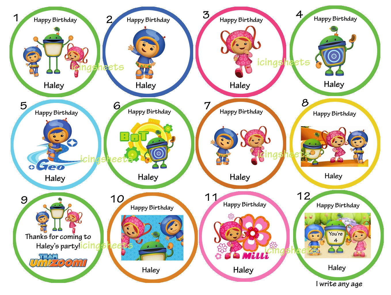 Team Umizoomi Edible edible cookie cupcake tops by IcingSheets