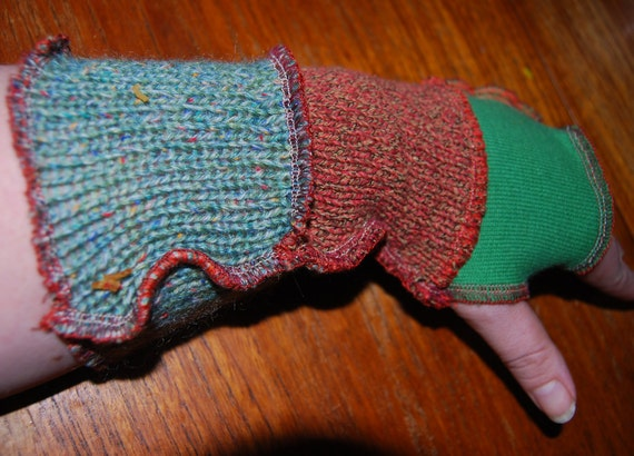 Upcycled Patchwork  OOAK Hand & Wrist-warmer