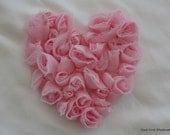Shabby Fray Heart Flowers - Light Pink -
