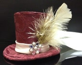 Burgundy and Cream Mad Hatter Mini Top Hat.  Great for Birthday Parties, Tea Party, Photo Prop or Night Out