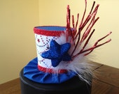 Red, White and Blue Mini Top Hat. Custom order for Robin Murray