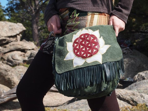 Flower Of Life Lotus Blossom Tote, -100% hand-dyed leather-