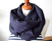 Unisex infinity scarf loop circle  navy blue with white pinstripe organic linen with silk nautical scarf, LAST SCARF