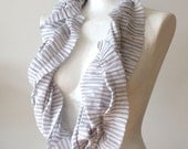 Unisex Infinity scarf loop circle striped organic soft cotton delicate pinstripes in dove blue, texture gathered