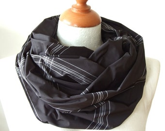 Unisex Infinity scarf in black with white pinstripe plaid loop circle tube, Father's Day gift under 20, spring fashion