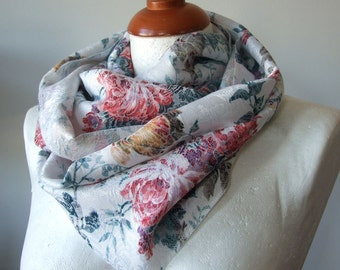 Baroque roses Infinity scarf loop circle luxurious fabric,  red roses and tea roses feminine floral spring fashion Mother's Day gift