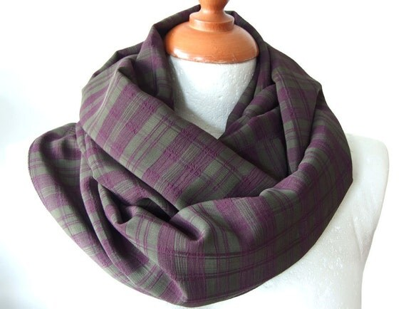 Father's Day gift under 20 dollars, Unisex Infinity scarf wrinkled plaid in eggplant aubergine colors loop circle eternity,  spring fashion