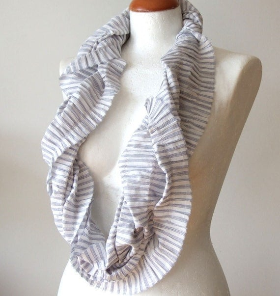 Unisex Infinity scarf loop circle striped organic soft cotton delicate pinstripes in dove blue, texture gathered, last scarf in this fabric