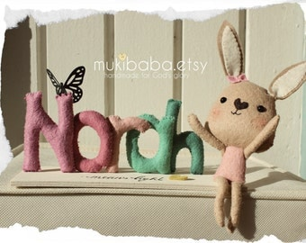 BABY BUNNY NAMEPLATE, custom kid's decor,  personalized baby decor, Bunny Rabbit, Nursery decor