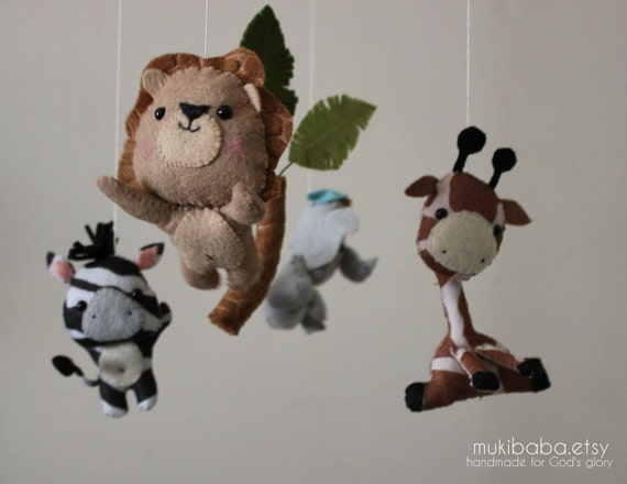 Baby Mobile - Safari Baby Mobile, Nursery Jungle Crib Mobile, Safari Crib Mobile, Lion Elephant Zebra Giraffe