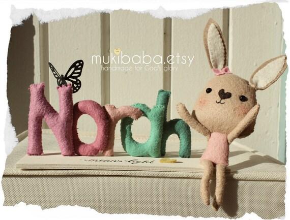 Woodland Nursery, Rabbit Baby Name, Custom Nursery Decor, Personalized Baby Gift, Bunny Rabbit, Woodland Creatures