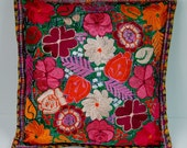 mexican folk art handmade embroidery color floral pillow case cushion cover