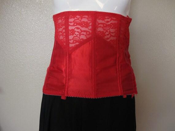 Lipstick Red Lace, Silk, Sheer, Shine BONED CORSET Size 30