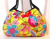 Floral Bag Purse Handbag Hobo Bag Cotton Designed Fabric  Green Pink Blue Red Medium Bag In Stock