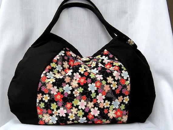 Japanese Kimono Bag Handbag Purse Hobo Bag Authentic Japanese Kimono Floral fabric Black multi color flowers Medium Bag In Stock