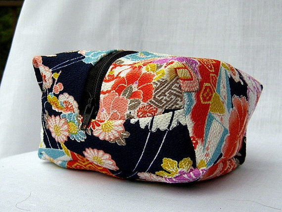 Zippered Cosmetic Pouch Makeup Bag Jewelry Pouch with Kimono fabric Navy Blue Pink Orange Floral In Stock