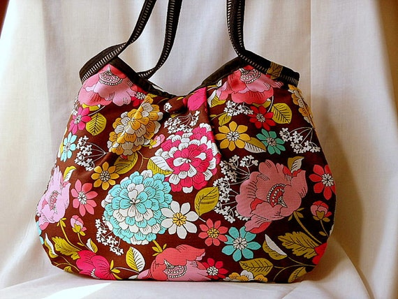 Floral Fabric Bag Purse Handbag Hobo Bag Brown Cotton Floral Fabric Medium Bag Brown Pink Blue Yellow Flowers In Stock