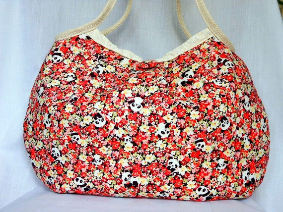 Kawaii Bag Floral Bag Japanese Fabric Purse Hobo Bag Handbag for Women Hidden Pandas in Flower Garden Japanese Cotton Fabric Orange In Stock