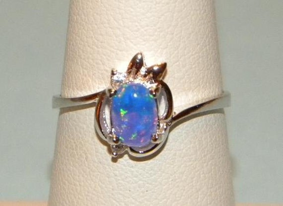 Fire Opal Authentic Genuine Australian Gemstone Ring Sterling Silver 925 Band Size 8 1/4
