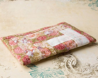 Rose Tissue Pack, Quilted Cotton, Travel Pack, purse accessories, beaded, pink and green, botanic
