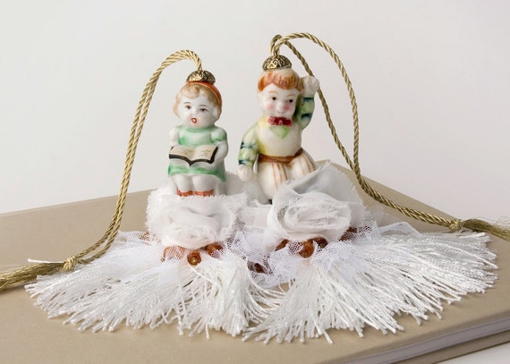 Fun holiday gift, Two repurposed Salt and Pepper Ceramic Tassels - READY TO SHIP