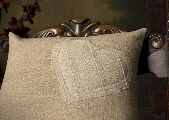 16x16 Shabby Chic, two-toned, two-sided, linen, Romantic, Heart Pillow Cover - READY TO SHIP