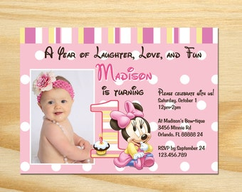 Minnie Mouse First Birthday Invitation - Printable