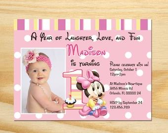 Minnie Mouse First Birthday Invitation - Printable