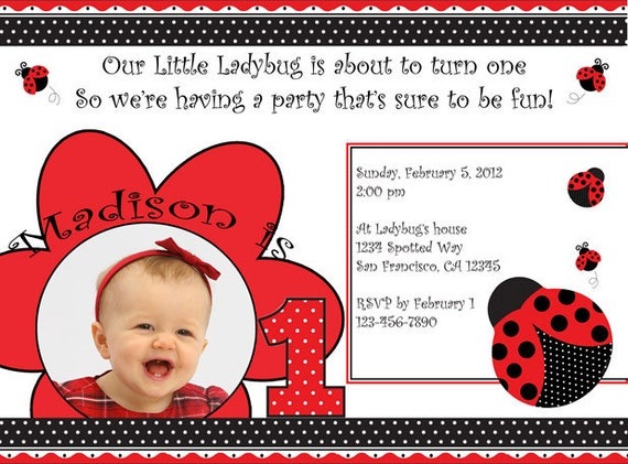 Printable Ladybug Birthday Invitation