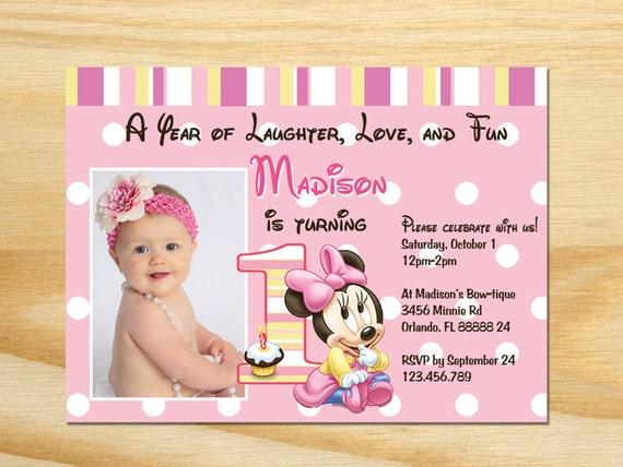 Minnie Mouse First Birthday Invitation Printable – Minnie Mouse 1st Birthday Invites