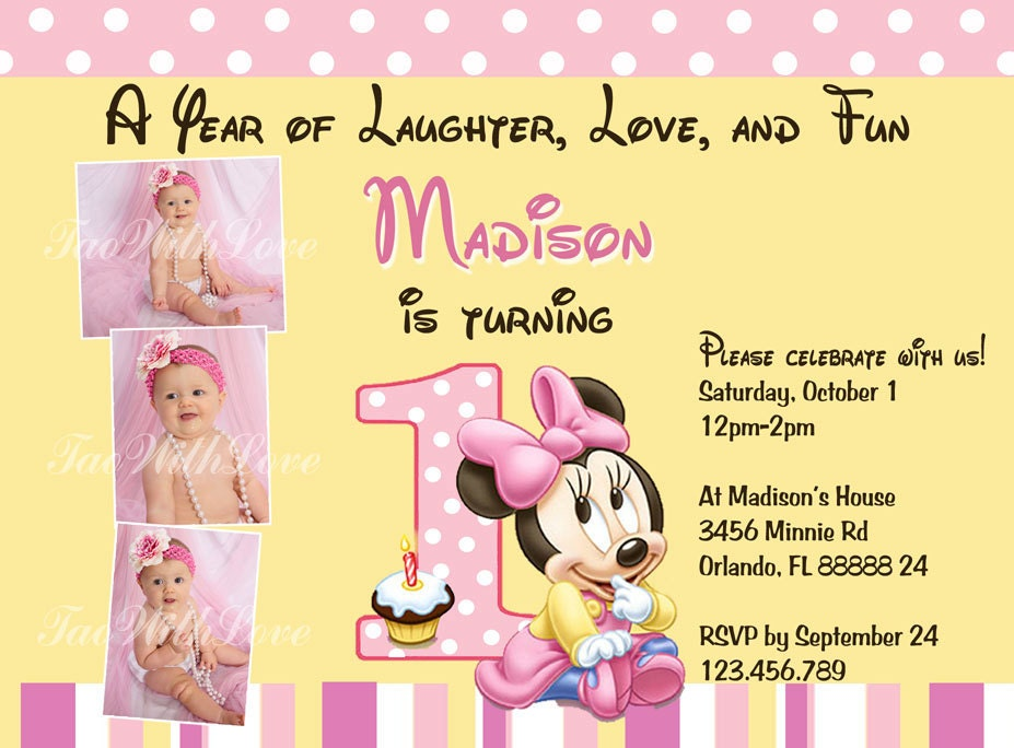 Minnie Mouse First 1st Birthday Printable Invitation