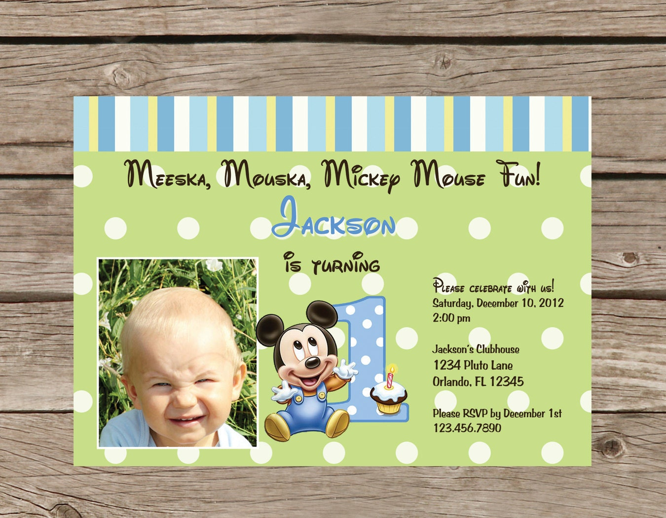 Printable Mickey Mouse 1st Birthday Invitation – Baby Mickey First Birthday Invitations