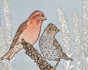 Linocut Relief Print, Original Art, 8-Color 9x8, CASSINS & MULLEIN, Love Birds, Fine Art Prinkmaking