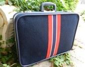 Vintage Skyway Suitcase, Wool Travel Case, Red White & Blue, 70s Vintage