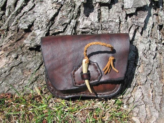 Leather Belt  Pouch Antler Cinch