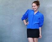 Vintage 1980s Blue Ruffle Sleeve Blouse - Medium Blue 100% Silk Size S M
