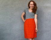 Vintage Orange Skirt - Wool Plaid Size M