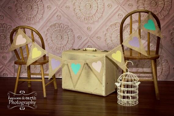 Pastel Hearts Easter Photography Prop Burlap Banner / Spring Mantel Decor