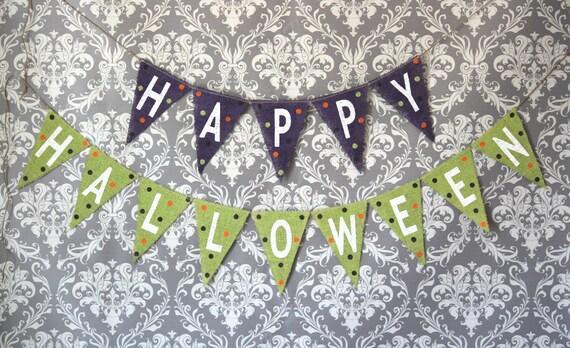 Happy Halloween Burlap Banner READY TO SHIP / Halloween Photography Prop
