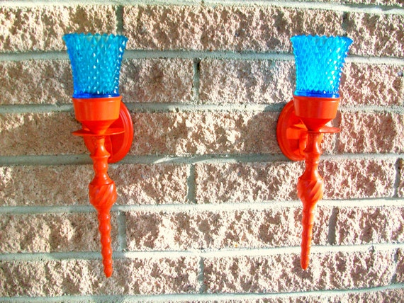 Mod Orange Metal Wall Candle Sconces Blue Glass Votives set of 2 Pair