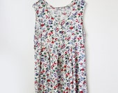 Vintage White Floral Grunge Dress