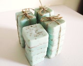Fresh Linen Mini Guest Soap Set of 6: Handmade, Goats Milk Soap, Sampler, Seafoam green, exfoliating soap, light blue, pale, pastel