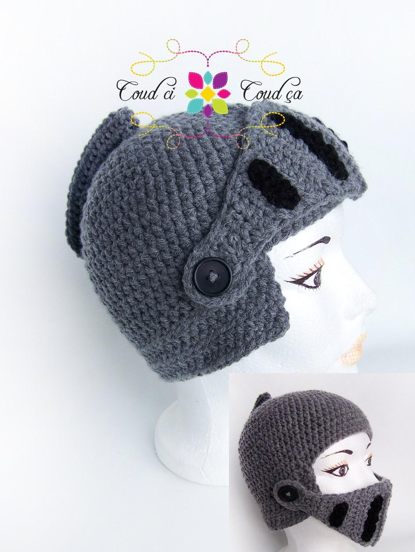 Crochet Knight Helmet : Knight crochet hat CHILD SIZE by coudcicoudca on Etsy