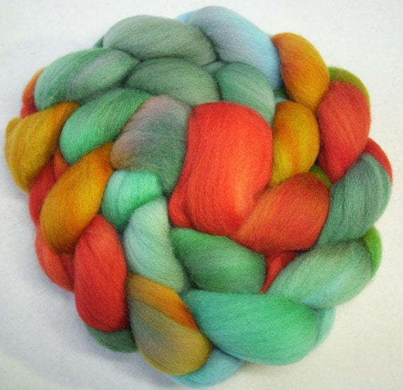 Hand Dyed Spinning Fiber Polwarth Combed Top (Roving) 4.0 oz.