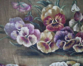 SALE  Vintage Framed Painting of Pansies on Linen