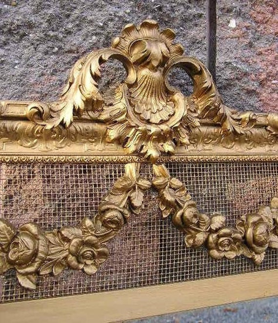 HUGE SALE Exquisite Antique Gold Gilt Full Length Mirror with Carved Roses and Mesh
