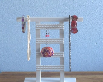 Jewelry Holder Stand- Organize Earrings, Necklaces, Bracelets - White